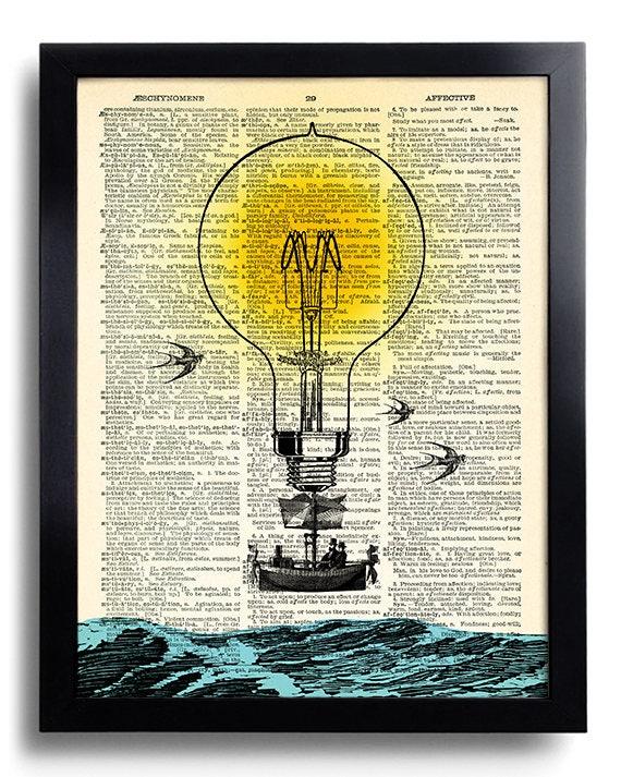 Hot Air Balloon Bulb Steampunk Wall Decor Art Print Bedroom