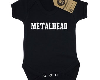 Metalhead printed baby vest alternative goth rock