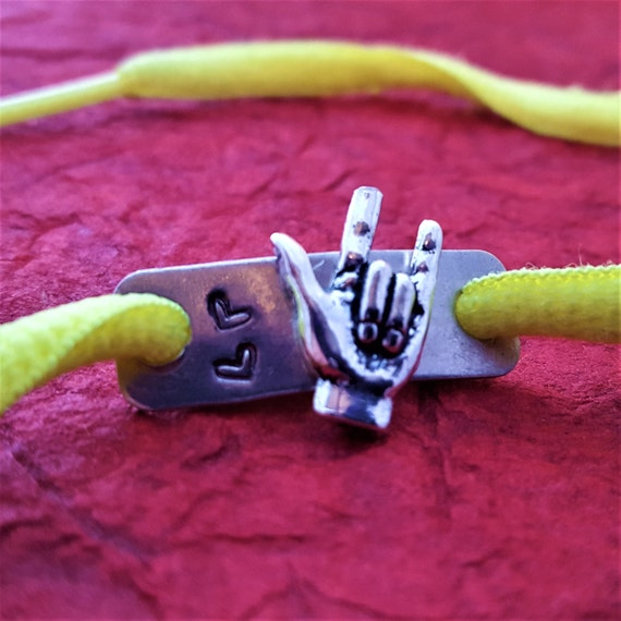 I Love You Hand Sign, Shoe Charms, Shoe Lace Tags, Hand Sign Charm, Running Jewelry, Gift for the Deaf, Holiday Gift, Sports Team Jewelry