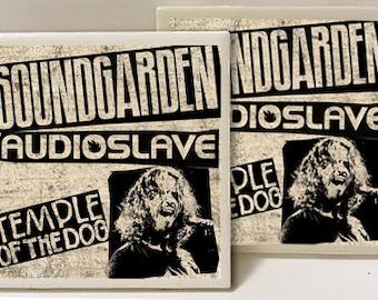 Chris Cornell Soundgarden Audioslave Seattle Designed Set of 2 Ceramic Tile Coasters