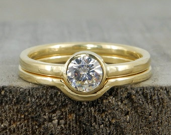 Wedding Ring Set - Forever One D-E-F Moissanite and Recycled 18k Yellow Gold, Conflict Free Diamond Alternative, Eco-Friendly, Made To Order