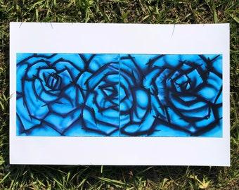 11X17   Blue   Rose   Flower   Airbrush   Fine   Art   Print