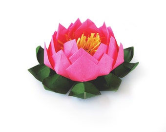 Paper Lotus Flower |  Water Lily | Origami Lotus | Yoga Studio Decor