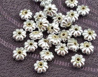 50 silver shape beads 6 mm, silver beads, separators, flower beads flower