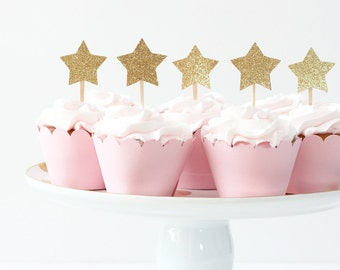 Gold Glitter Star Cupcake Toppers Girls First Birthday Party Twinkle Twinkle Little Star Party Pink and Gold Party Supplies Boy 1st Birthday