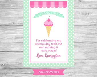 Ice Cream Shoppe Birthday Thank You Card Printable - Ice Cream Birthday Party, Thank You, Ice Cream Parlor