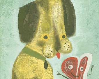 A portrait of Henry with his best friend, Porterhouse. Limited edition print by Matte Stephens.