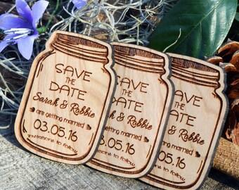 Mason Jar Design Hardwood Save the Date Magnets, Custom Engraved Invitations