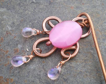 Pink Cat's Eye Dewdrop Chandelier Hammered Copper Hair Stick