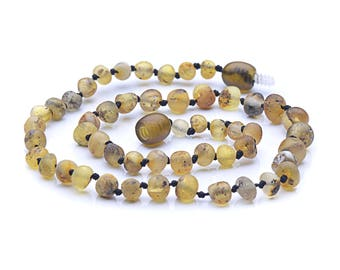 Light Green Color Raw Baltic Amber Teething Necklace For Baby - Maximum pain relief - Special Price