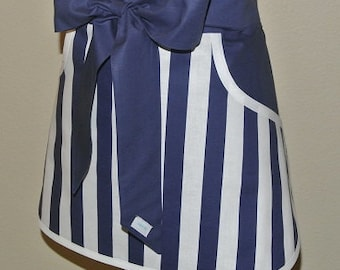 Baking Apron - Personalized Apron - Apron with Pockets - Hostess Apron - Navy and Whie Stripe  with Navy Pockets and Ties Adult Half Apron