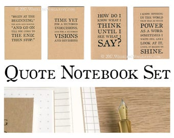 Writing Journal Set, 4 A6 Writers Notebooks   Inspirational Quotes, NaNoWriMo Gift for Writers   Ruled Kraft Cahier Bundle, Recycled Paper
