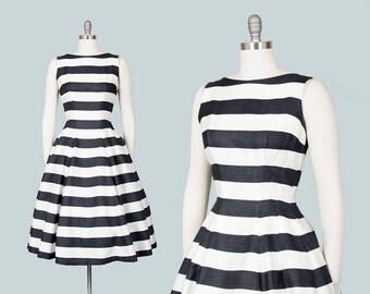 Vintage 1950s Dress | 50s Black White Striped Cotton Sundress Full Skirt Day Dress (medium)