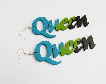 Queen Earrings Blue Green Black Wood Hand painted Queens Jewelry Afrocentric African Black Wooden Jewellery Handmade Ethnic Earrings Woman