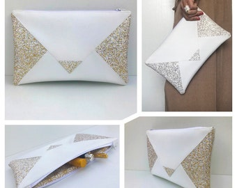 White and gold wallet imitation leather and glitter