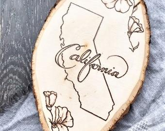 Wood Burned Wood Slice, State Name + State Flower