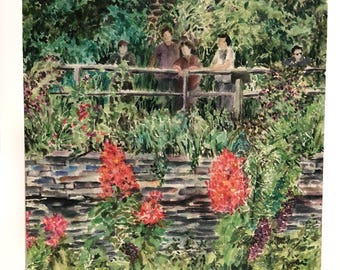 People on bridge at Lincoln Park Zoo, Chicago — Watercolor art print — ready to hang