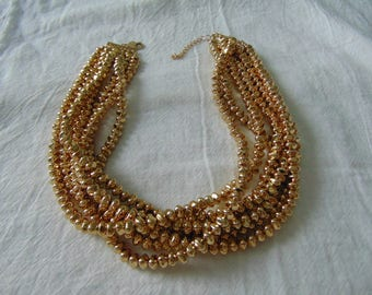 louis dell'olio gold metallic multi strand torsade necklace mint signed gold necklace