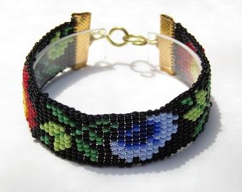 Vintage Black and Floral Bead Loom bracelet