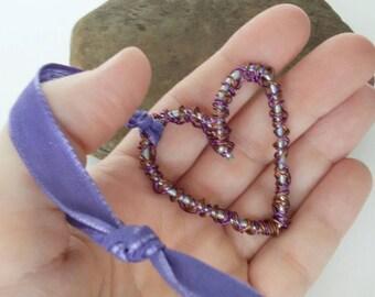 Valentine's Day heart/hanging heart/rear view mirror/key chain heart/wire heart/copper wire heart/purple heart/sweetheart gift/wedding gift