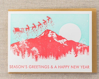 Seasons Greetings Mountains Letterpress Holiday Card