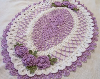 crocheted oval doily wood violet/purple/lavender and white  handmade