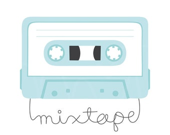Mixtape Digital Clipart Clip Art Illustration - instant download - limited commercial use ok