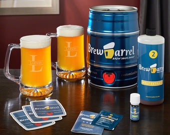 Brew Barrel Beer Making Kit and Custom Beer Mugs - Ideal Birthday Gifts for Beer Lovers - Beer Mugs Engraved with Our Oakmont Design