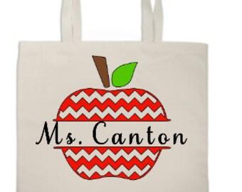 Chevron Apple Teacher Tote bag