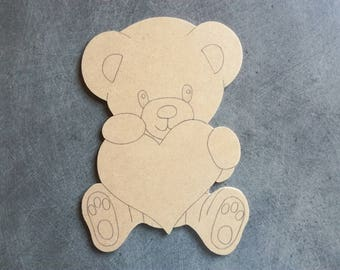 Bear with heart: 22 x 15.5 cm support blank mdf wood