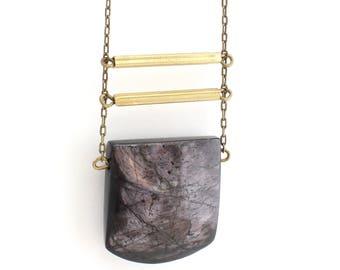 Eliza - iridescent black pendant, gemstone necklace with minimal lines, minimalist, earthy, boho gem, under 50