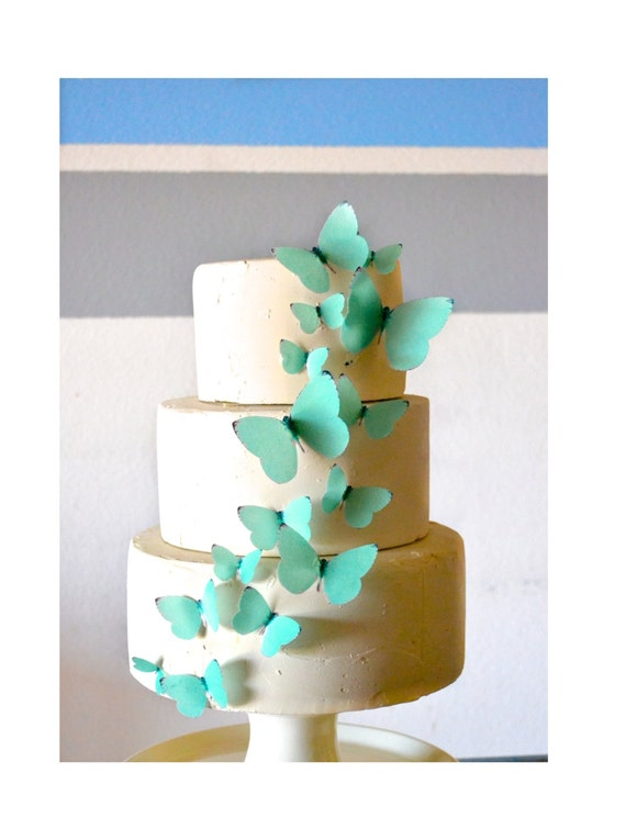teal wedding cake toppers wedding cake topper edible butterflies teal blue green set 20789