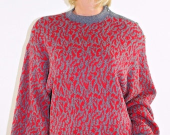 Vintage ST JOHN for I Magnin Red & Gray Tunic Sweater by Marie Gray SIze 8 USA