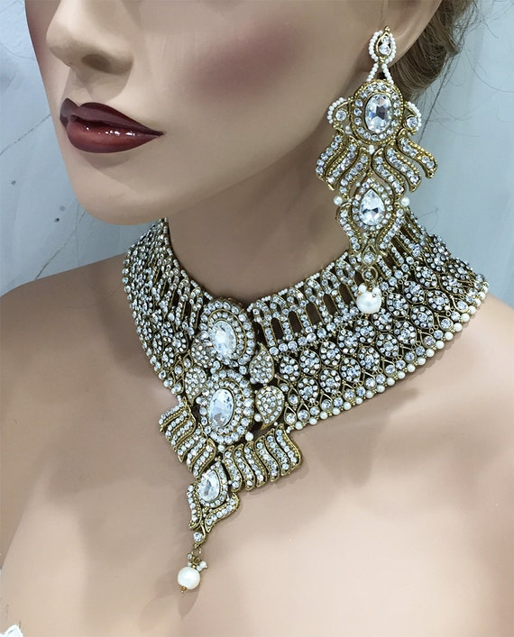 Hesiod Indian Wedding Jewelry Sets Gold Color Full Crystal: Wedding Jewelry Set Bridal Jewelry Set Antique Gold Crystal