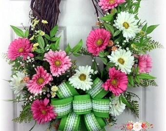 Spring Daisy Wreath, Pink Daisy Wreath, Spring Wreath, Spring Door Decor, Grapevine Wreath, Oval Wreath, Pink and White Wreath, Spring Decor