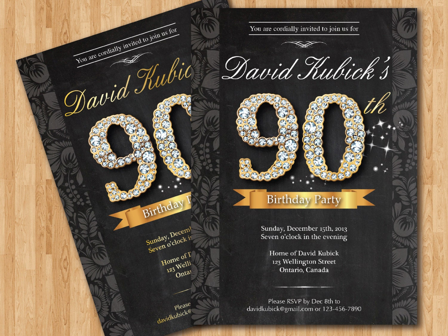 90th birthday invitation black and gold diamond number zoom filmwisefo Gallery