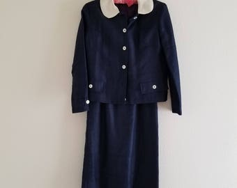 Vintage 1950's Navy Blue Silk Dress and Jacket Suit Jonathan Logan