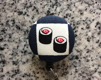 Sushi retractable ID Badge holder, sushi, Nurses badge, fabric badge reel, ID clip, badge clip
