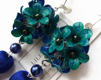 Green blue flower earrings with silk tassels Blue green earrings Flower jewelry for women Green floral jewelry gift