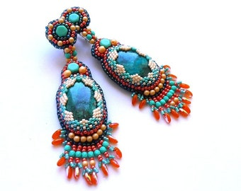 Clips on earing, clips stone chrysocolla, embroidery beads Czech
