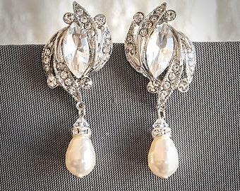 55% OFF SALE, Crystal Bridal Earrings, Art Deco Wedding Earrings, Art Deco Dangle Earrings, Swarovski Pearl Drop Dangle Jewelry, FANCHONE