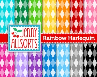 Harlequin Digital Papers in Bright Colors for Scrapbooking, Papercraft and Digital Design - 14 Sheets - Instant Download