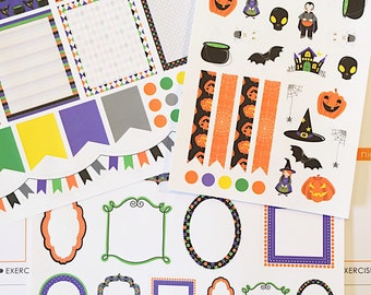 76 Halloween Planner Stickers- Halloween Themed Sticker Set- perfect in your Erin Condren planner, Plum Paper, wall calendar or scrapbook