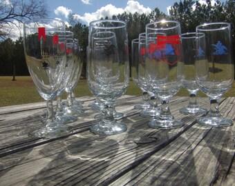 Michelob Glasses, Pilsner Beer Glass, Budweiser Olympic Glasses, barware, glass set, vintage glass, beer glass, man cave, restaurant, bar