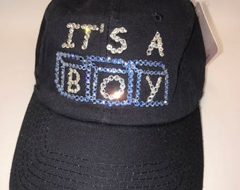 Swarovski crystal bling It's A Boy hat