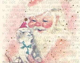 MID CENTURY PINK Christmas Card Pink Santa Fabric Block pcs27.