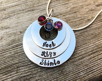 Hand Stamped personalised name 3 tier stacked washer necklace  Swarovski birthstones, name necklace, personalised pendant, Mother's Day gift