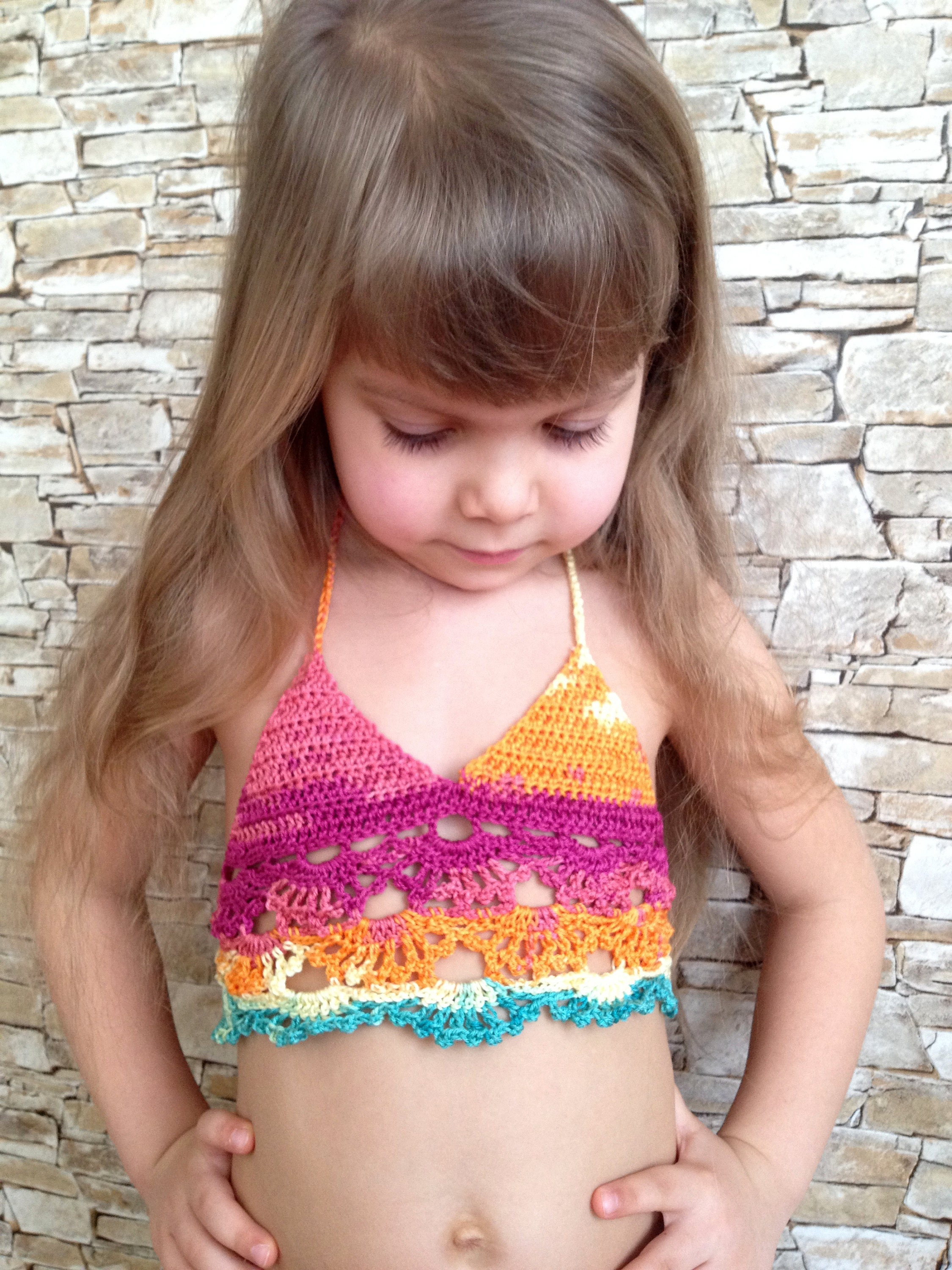 Crochet toddler top Colorful outfit Beach clothing kids Cover
