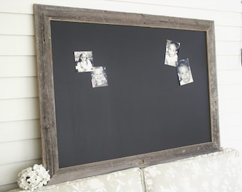 MAGNETIC Chalkboard Barnwood Frame Bulletin Board X-LARGE Reclaimed Recycled Weathered Gray Rustic Wood 35 x 48 Handmade Made in USA