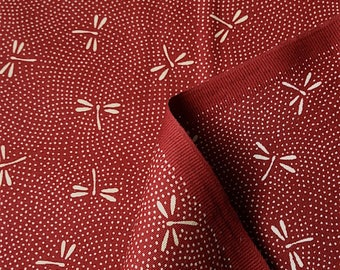 Japanese fabric, traditional pattern of dragonflies love red background cotton 110 x 50 (021C)